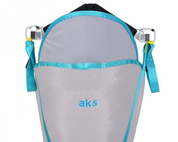 Standardgurt mit Rückenverstärkung und integrierter Kopfstütze AKS für Patientenlifter, Hebegurt, bi