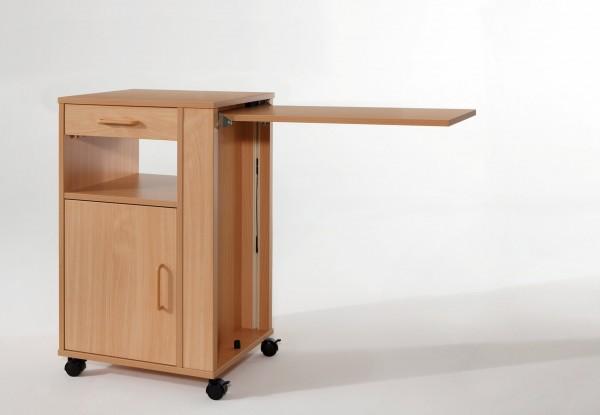 Nachttisch Hermann mit Bett-Tischplatte Burmeier, Buche Dekor, Pflegebetttisch, Betttisch