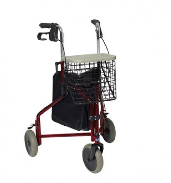 Invacare Gehrad 429/2 Delta, 3-Rad-Rollator mit Korb, Tablett und Tasche, bis 135 kg belastbar