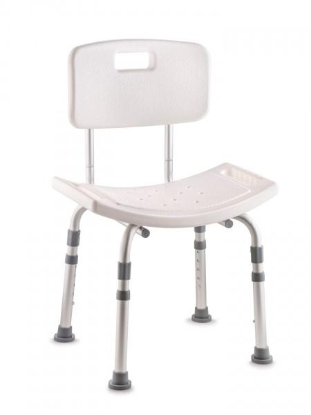 Invacare Duschstuhl H296 Cadiz mit Rückenlehne u. gebogener Sitzfläche, höhenverstellbar, bis 143 kg