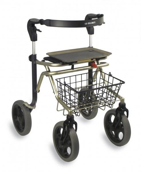 Dolomite Soprano Outdoor Rollator mit großen Rädern, Rückengurt, Tablett, faltbar, bis 160 kg
