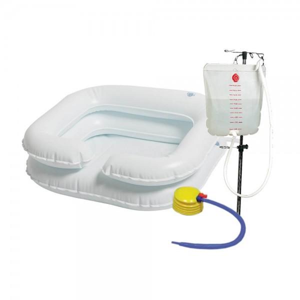 Aquasafe Haarwaschwanne, aufblasbar, 2-reihig inkl. Pumpe und Dusche