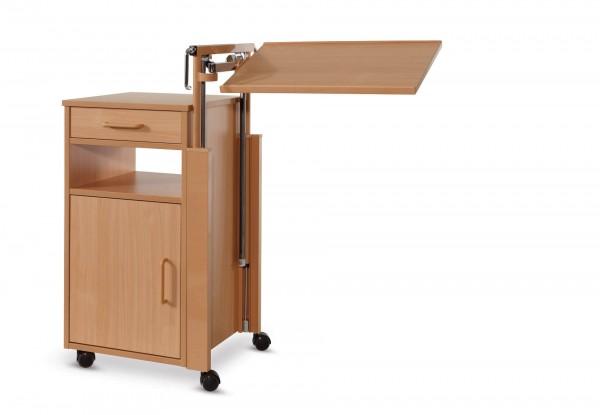 Nachttisch Cherusker mit Bett-Tischplatte Burmeier, Buche Dekor, Pflegebett-Tisch, Betttisch