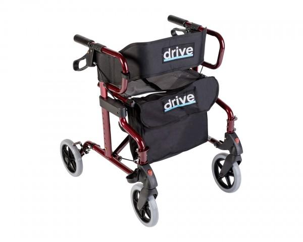 Rollator / Transportrollstuhl Drive Medical Diamond Deluxe, faltbar, bis 136 kg